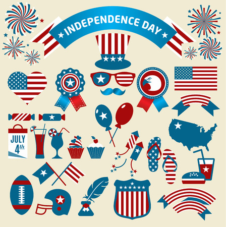 calendar day: Stock Vector Illustration: Set of color independence day. Vector icons.
