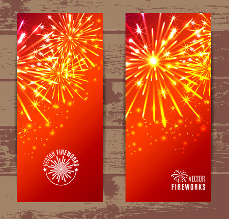 may: Vector Illustration of Fireworks. Banners set.