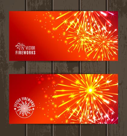 Vector Illustration of Fireworks. Banners set. Vector