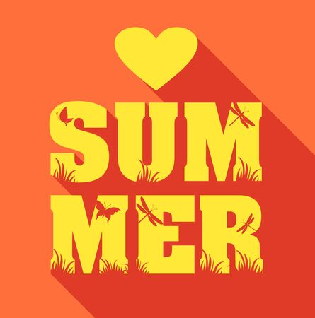 holliday: Summer poster of type composition. Flat design holiday background.