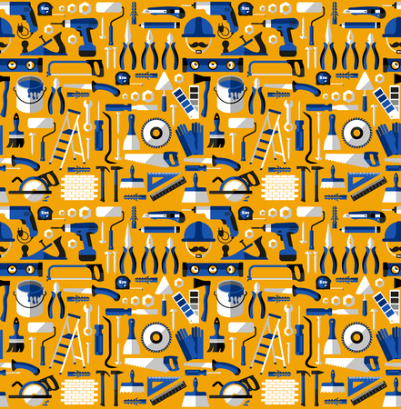 painter palette: Color seamless pattern of building tools, flat style.