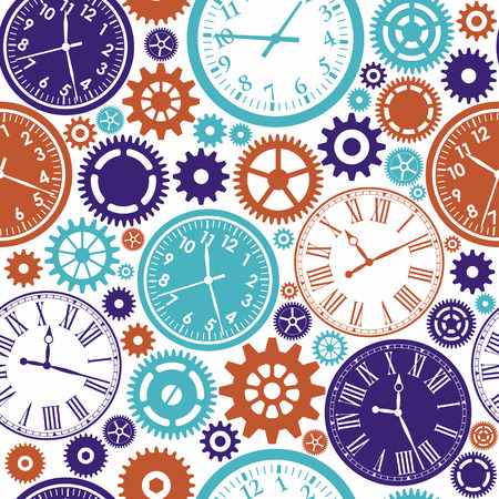 time of the day: Clock`s seamless pattern. Color texture of time.