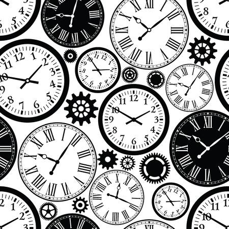 時計のシームレスなパターン。時間の黒と白のテクスチャです。  イラスト・ベクター素材