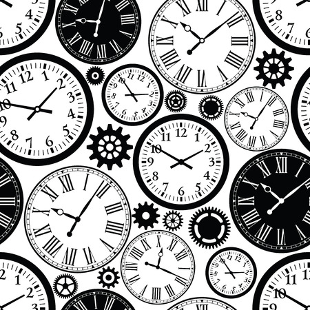 black a: Clock`s seamless pattern. Black and white texture of time.
