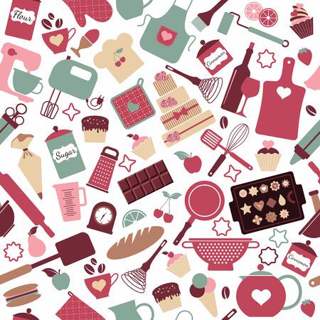 Naadloos patroon van bakkerijproducten en zoetwaren Stock Illustratie