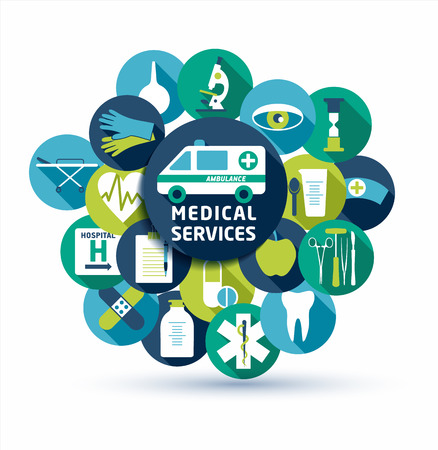 Medical and health vector illustration. Set of flat medical icons.