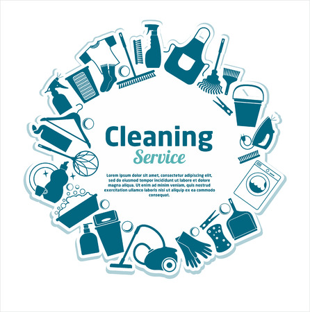 ware house: Cleaning services vector illustration. Illustration