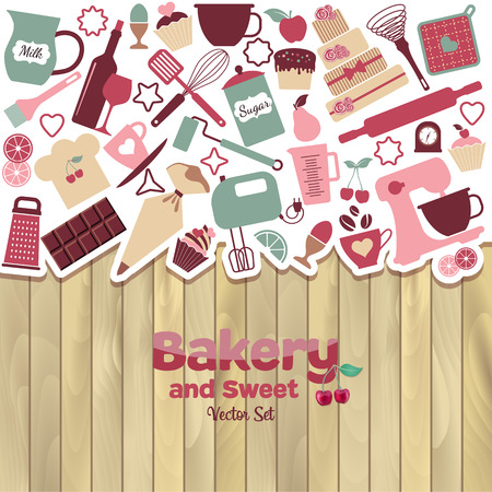 Bakery and sweet abstract illustration on wood. Vectores