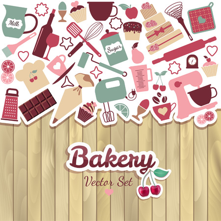 Bakery and sweet abstract illustration on wood.