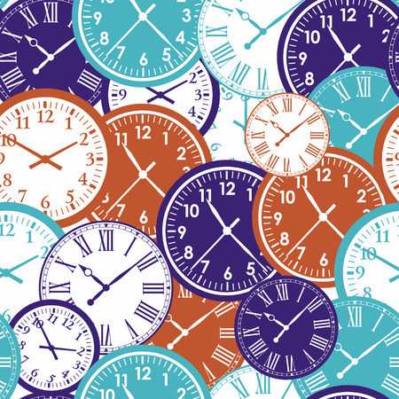 Clocks seamless pattern. Color texture of time. 向量圖像