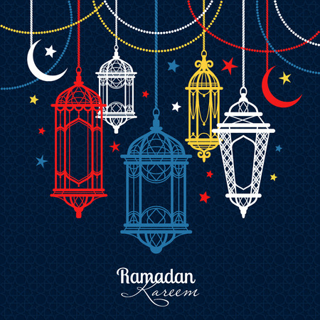 Ramadan Kareem. Islamic background. lamps for Ramadan