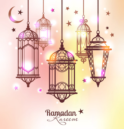 mubarak: Ramadan Kareem. Islamic background. lamps for Ramadan