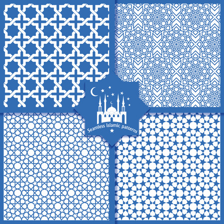 Seamless Islamic patterns set in blue color. Illustration