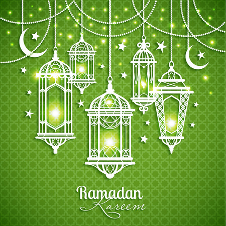 Eid Mibarac abstract vector background on green.
