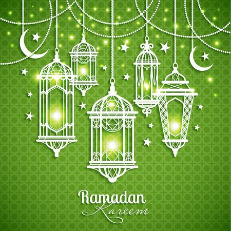 minarets: Eid Mibarac abstract vector background on green.