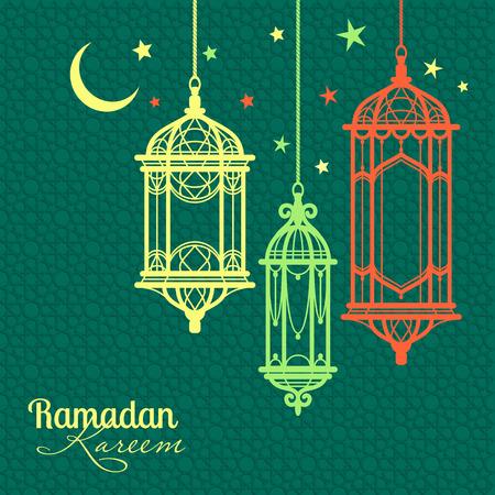 Ramadan Kareem. Islamic background. lamps for Ramadan. Illustration
