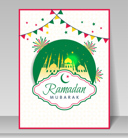 Holy month of Muslim community, Ramadan Kareem celebration with mosque. Illustration