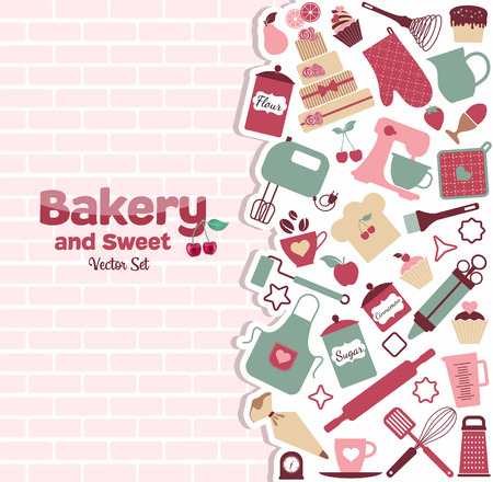 bakery store: Bakery and sweets abstract illustration