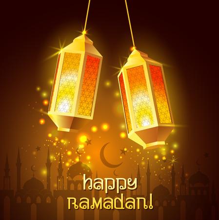 ラマダン カリーム。イスラムの背景。ラマダン用ランプ