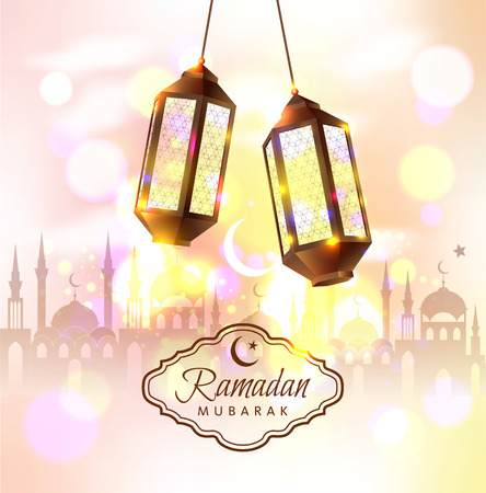 Ramadan Mubarak vector illustration with 3d lamps.