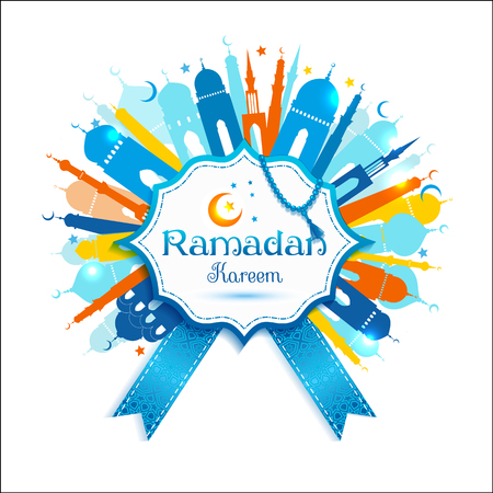 mubarak: Vector illustration arabic ramadan kareem frame design celebratory illustration with mosgue Illustration