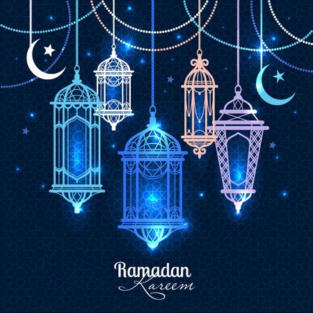 ラマダン カリーム。イスラムの背景。ラマダンのためのランタン