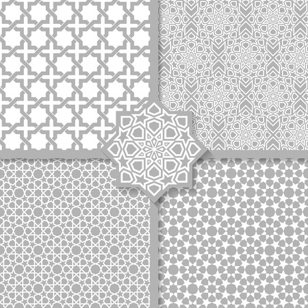 Seamless Islamic patterns set Vectores