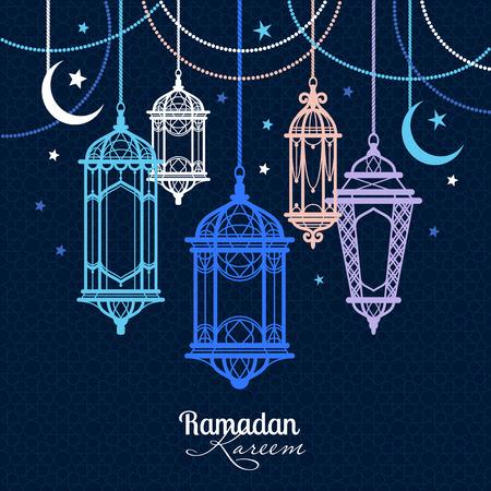 Ramadan Kareem. Islamitische achtergrond. Lampen voor Ramadan