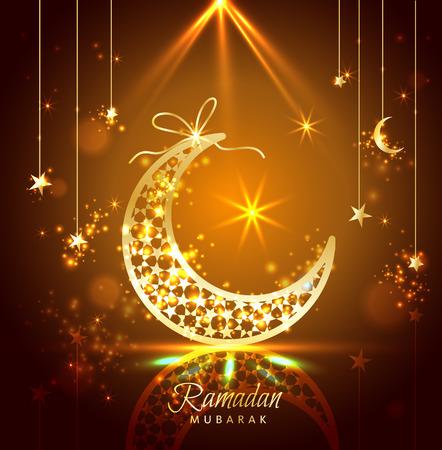 月と星で飾られたラマダン カリームお祝いグリーティング カード  イラスト・ベクター素材
