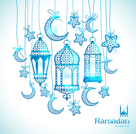 moons: Greeting Card Ramadan Kareem design with lamps and moons. Vector frame illustration. Illustration