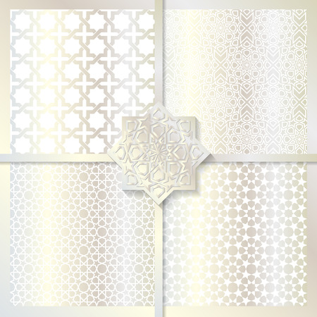 festive occasions: Seamless Islamic patterns set in silver color.