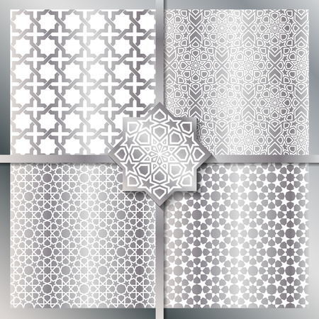beautiful allah: Seamless Islamic patterns set in silver color.