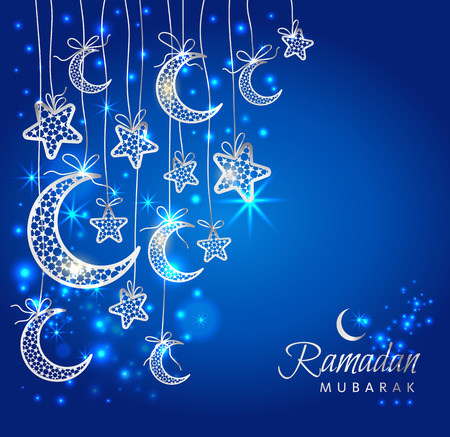 Ramadan Kareem celebration greeting card decorated with moons and stars on blue background.