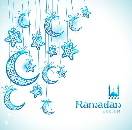 Ramadan Kareem viering wenskaart versierd met blauwe manen en sterren op een witte achtergrond. Stock Illustratie