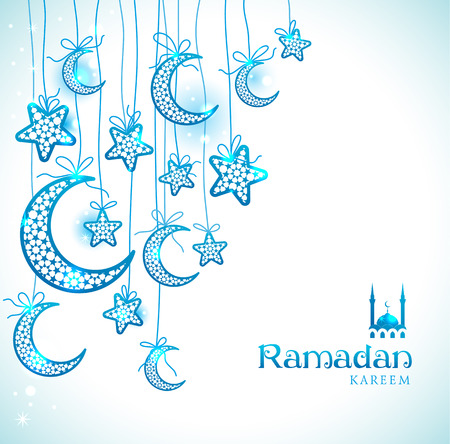 Ramadan Kareem celebration greeting card decorated with blue moons and stars on white background.
