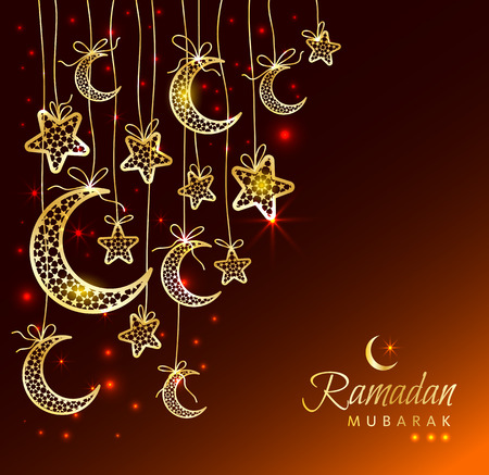 moons: Ramadan Kareem celebration greeting card decorated with moons and stars on dark background.