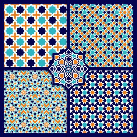 원활한 이슬람 컬러 패턴을 설정합니다. 벡터 장식 텍스처
