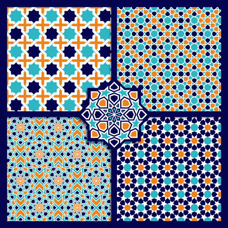 islamic: Seamless Islamic color patterns set. Vector ornament texture