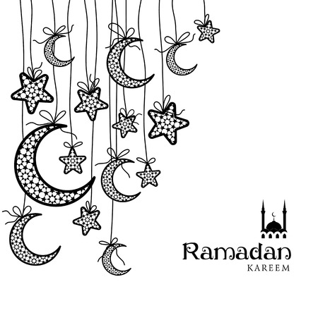Greeting Card Ramadan Kareem design with stars and moons. Vector illustration.
