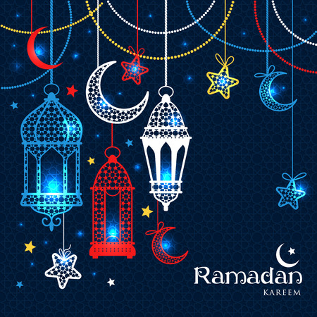 moons: Greeting Card Ramadan Kareem design with lamps and moons. Vector illustration.