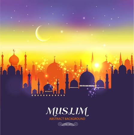 イスラム教徒の抽象的なグリーティング カード。夕暮れ時のイスラム ベクトル図。
