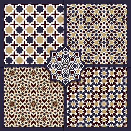 Seamless Islamic color patterns set. Vector ornament texture
