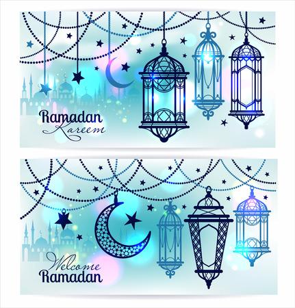 Ramadan Kareem. Islamitische achtergrond. Banners voor Ramadan