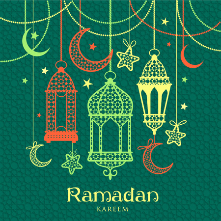 moons: Greeting Card Ramadan Kareem design with lamps and moons. Vector illustration.