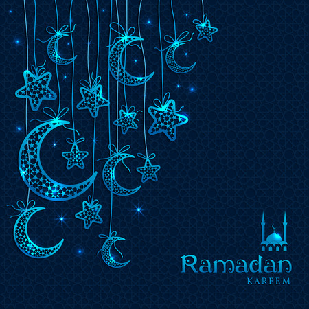 Ramadan Kareem celebration greeting card decorated with blue moons and stars on dark background.