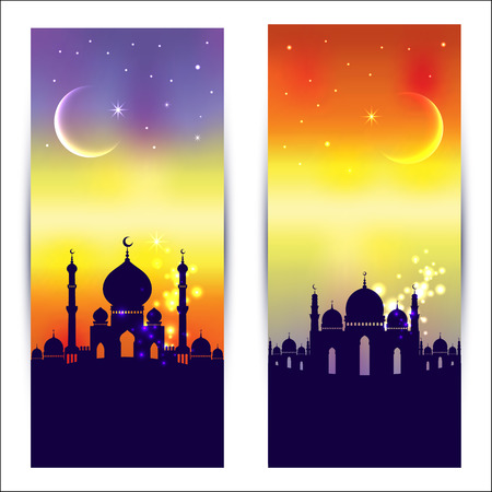 Muslim abstract greeting banners. Islamic vector illustration at sunset.