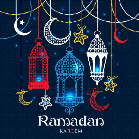 Greeting Card Ramadan Kareem design with lamps and moons. Vector frame illustration. Vettoriali