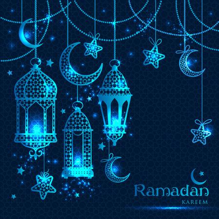 lantern: Greeting Card Ramadan Kareem design with lamps and moons. Vector frame illustration. Illustration