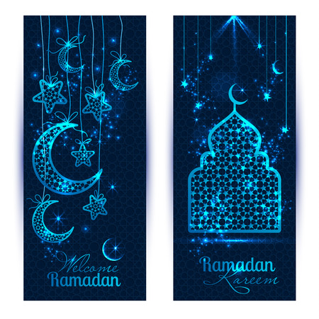 Ramadan Kareem celebration greeting banners decorated with moons and stars