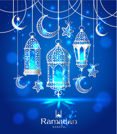 moons: Greeting Card Ramadan Kareem design with lamps and moons.